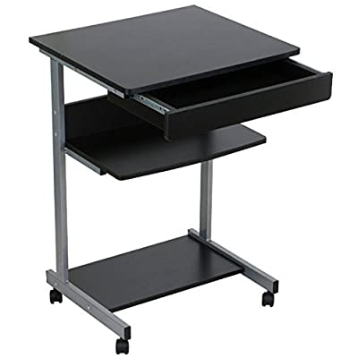 Laptop Notebook Computer Desk Table Stand Portable Rolling Cart Tray With Drawer and Shelf School Home Office Furniture Black #1032