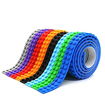 LattoGe Block Tape for Lego Bricks Silicone Building Tapes Cuttable Reusable Self Adhesive Baseplate for Kids Major Toy Figures Table Wall Desks