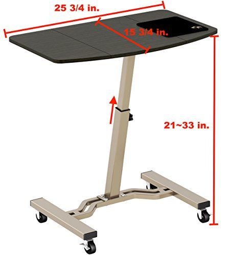 LeCrozz Height Adjustable Mobile Laptop Stand Desk Rolling Cart ...