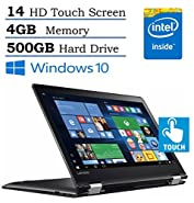 Lenovo Flex 4 14-inch HD Touchscreen 2-IN-1 Convertible Laptop (2016 New Edition) , Intel Pentium Processor, 4GB RAM, 500GB HDD, HDMI, Webcam, Bluetooth, up to 8.5 hours battery life, Windows 10