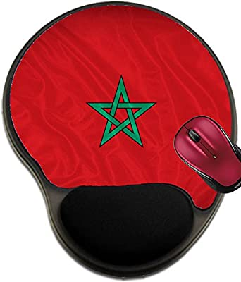 Liili Mousepad wrist protected Mouse Pads/Mat with wrist support design IMAGE ID 32051897 Morocco flag pattern on the fabric texture vintage style