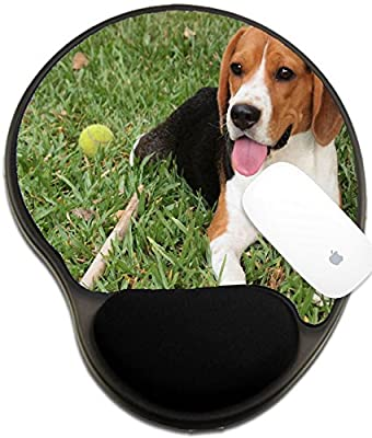 Luxlady Mousepad wrist protected Mouse Pads/Mat with wrist support design IMAGE ID: 19653521 Little beagle waiting to play