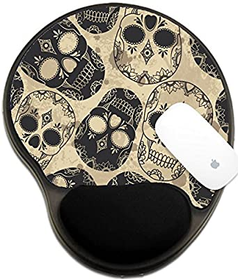 Luxlady Mousepad wrist protected Mouse Pads/Mat with wrist support design IMAGE ID: 32184659 Vector pattern with skulls Grunge background with drops and splashes