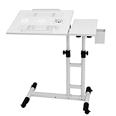 Meharbour Angle and Height Adjustable Laptop Stand Table, Mobile Laptop Notebook Computer Desk Cart with Mouse Pad, Lockable Casters and Pen Holder for Sofa and Bed (US STOCK)