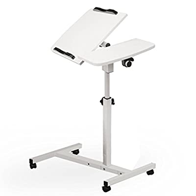 Mobile Laptop Desk,WYTong Turn Lift Sit-Stand Portable Mobile Laptop Desk Tables Cart with Side Table for Notebook/ Macbook