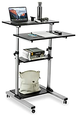 Mount-It! Sit Stand Workstation Standing Desk Converter With Dual Monitor Mount Combo, Ergonomic Height Adjustable Tabletop Desk, Black (MI-7914)