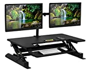 Mount-It! Sit Stand Workstation Standing Desk Converter With Dual Monitor Mount Combo, Ergonomic Height Adjustable Tabletop Desk, Black (MI-7934)Black (Sit-Stand + 2 Monitor Mount)