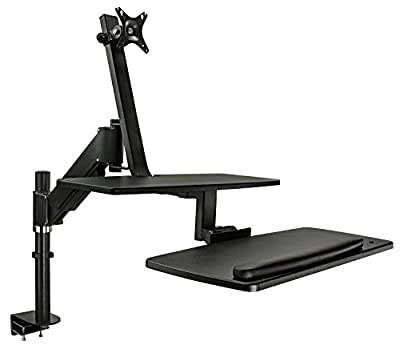Mount-It! Standing Desk Converter With Single Monitor Mount, Adjustable Height Sit Stand Workstation