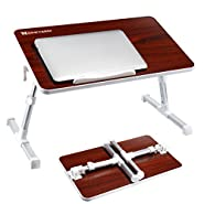NNEWVANTE Adjustable Laptop Table for Bed, Portable Standing Bed Desk, Foldable Sofa Breakfast Tray, Notebook Stand Reading Holder for Couch Floor-Walnut