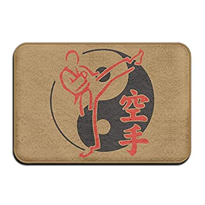 Non Slip Door Mat Outdoor,Decorative Garden Office Bathroom Door Mat with Non Slip, Yin Yang Asian Martial Arts Karate Fighter Anti-skidding Welcome Door Mats Standing Mat