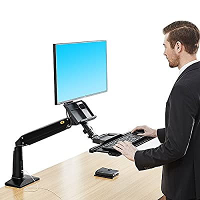 North Bayou Sit Stand Desk Height Adjustable Standing Desk Workstation for 22''-35'' Monitor Computer Riser Monitor and Keyboard Mounts