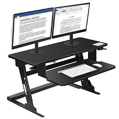 "Novopal Sit to Stand Adjustable Standing Desk,Height Elevating Lift Desktop Table,Monitor Riser/Workstation Converter With LockableShelf, 35.4"" Wide With Ergonomic Keyboard Tray-Preassembled (Black)"