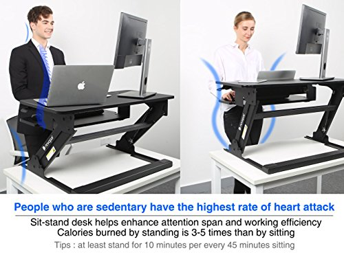 Novopal Sit To Stand Adjustable Standing Desk,Height Elevating Lift Desktop  Table,Monitor Riser ...