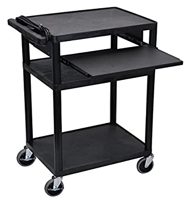 Offex OF-LP34LE-B Multipurpose 3 Shelves A/V Cart with Front Pullout Tray - Black