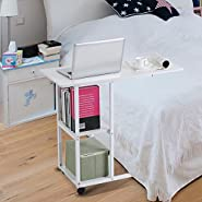 Over Bed Table,Portable Mobile Laptop Desk Sofa Couch Rolling Wheel Laptop Computer Table Computer Lazy Lifting Side Table for Home Office