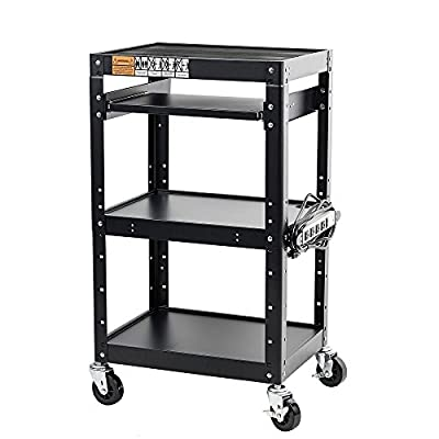 Pearington Commercial Grade Metal Rolling AV & Presentation Cart Used for TV's, Printers, Storage & Laptop Presentations