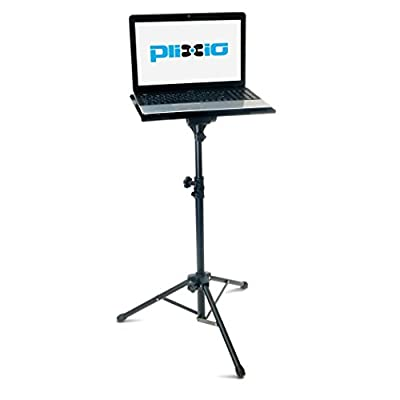 """Plixio Adjustable Laptop Projector Stand - Portable Podium Tripod Mount, DJ Mixer Stand Up Desk Computer Stand Tray and Holder (27"""" to 48"""")"""