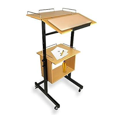 Portable Wheeled Lectern Podium Stand - 2-Tier Height Adjustable Standing Teacher Speaker Mobile Presentation Cart, Laptop Holder w/Storage Shelf, Rolling Wheels, Steel Metal Frame - Pyle PLAVCRTLC46