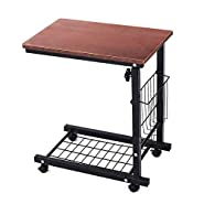 Qwork Side Table Wheel Mobile Computer Desk with Storage Basket for Small Spaces Snack Table C Table for Living Bed Room