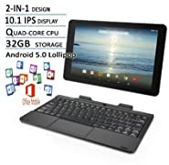 RCA Viking Pro Flagship Black Edition 10.1 Touchscreen 2 In 1 Tablet Laptop, Detachable Keyboard, Free Office Moblie APP, Quad-Core Processor,32G storage, IPS Display, Android 5.0 Lollipop