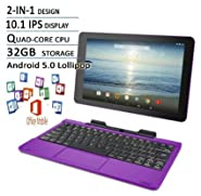 RCA Viking Pro Flagship Purple Edition 10.1 Touchscreen 2 In 1 Tablet Laptop, Detachable Keyboard, Free Office Moblie APP, Quad-Core Processor,32G storage, IPS Display, Android 5.0 Lollipop