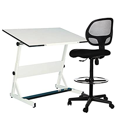 Sleekform Drafting Chair | Adjustable Stool with Wheels for Tables & Standing Desks | Reclining Backrest with Lumbar Support | Reinfored Footrest with Height Control | Breathable Mesh Back & Seat