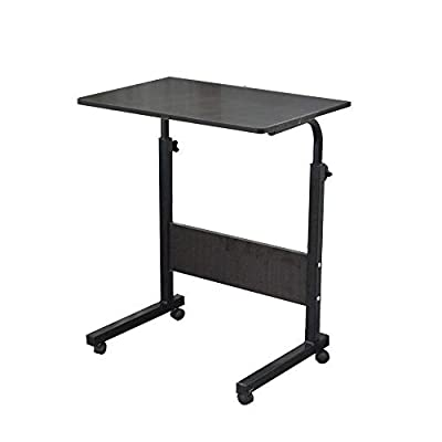 "Soges 31.5"" Adjustable Mobile Desk Portable Laptop Table Computer Stand Desk Cart Tray, Black ZS-05-1-80H"