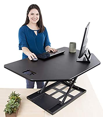 Stand Steady Corner Standing Desk X-Elite Pro Corner Standing Desk   40 Inch Corner Sit to Stand Desk Converter Ideal for Cubicles and L Shaped Desks! Easy Height-Adjustable and Fully Assembled!