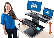 "Stand Steady Momentum Two Level Standing Desk | Easily Adjustable Sit to Stand Desk with Gas Spring Lift | Sit-Stand Desk with Keyboard Tray & Bonus Tablet Slot | Sleek Modern Design (Black 32"")"