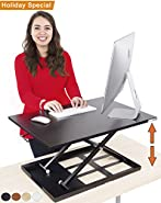 Stand Steady Standing Desk X-Elite Standing Desk | X-Elite Pro Version, Instantly Convert Any Desk into a Sit/Stand up Desk, Height-Adjustable,
