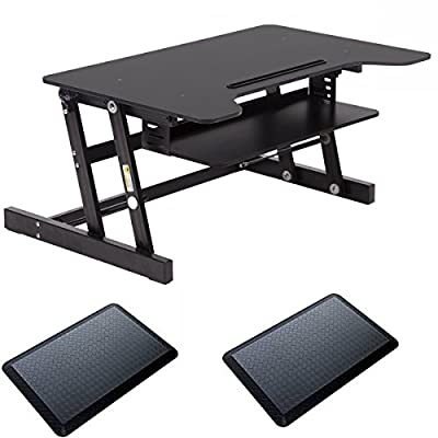 Standing Desk Adjustable Height Desk Riser Sit Stand Up Desk With 2 PCS Standing Desk Anti Fatigue Mat
