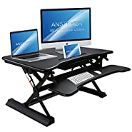 Standing Desk Converter with Drawer - Ansteker 35'' Wide Platform Height Adjustable Sit to Stand Desk Riser with Keyboard Tray and Tablet Holder - Fits Dual Monitor