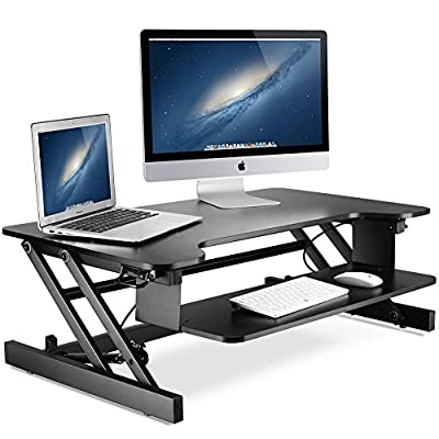 Standing Desk, Little Tree 37in/32in Height Adjustable Stand Up Desk Riser with Wide Keyboard Tray, Sit to Stand Converter, 2 Tier, Gas Spring Hovering System for Dual Monitor