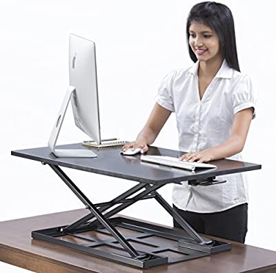 Standing desk - Table jack - 32 X 22 inch height adjustable sit stand desk converter that can act as a desk riser for a dual monitor setup