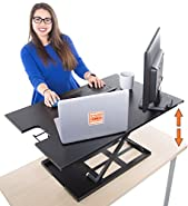 "Standing Desk X-Elite XL – Stand Steady Standing Desk | X-Elite Larger Version, Instantly Convert Any Desk into a Sit / Stand up Desk, Height-Adjustable, Fully Assembled (XL 36"", Black)"