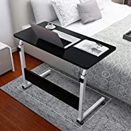 """TANGON Laptop Rolling Cart Computer Stand Desk 31.4"""" X 15.74"""" Large Wooden Table Top Folding Desk PC Home Office Workstation"""