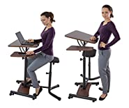 Teeter Sit-Stand Desk - Adjustable height ergonomic workstation with stool, side table, and foot platform.