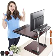 The UpTrak Metro Standing Desk & Bonus Keyboard Tray | Sit-to-Stand Desk Converter by Award-Winning Stand Steady | Spring-Assisted LIFT! Height Adjustable Sit Stand Desk for Cubes & Offices! (Cherry)
