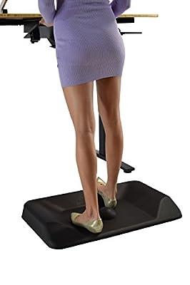 Uncaged Ergonomics ACTIVE STANDING MAT, contoured not-flat anti-fatigue standing desk mat to encourage movement, Black (ASM-b)