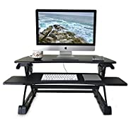 "VERSITALL - Standing Height Adjustable Desk - 35"" Wide Sit to Stand Computer Workstation with 2 Tiers - Adjust Up and Down with our Dual Spring System - Keyboard Tray is Removable, Black Finish"