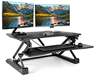 "VIVO Black Height Adjustable Standing Desk Single Touch Gas Spring - 36"" Tabletop Riser Sit Stand Station (DESK-V001A)"