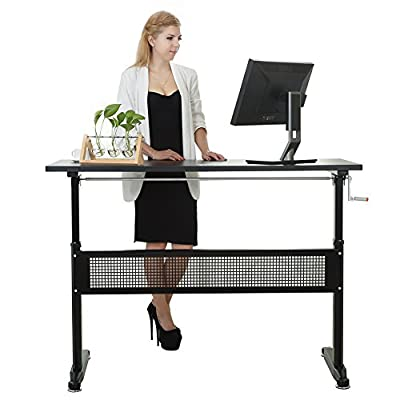 Win Up Manual Height Adjustable Sit Standing Up Desk 55 inch With Crank Handle
