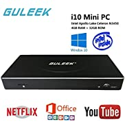 Windows10 Mini PC Desktop Computers 4k HD Tv Box 64 bit GULEEK i10 Media Player with Intel APOLLO Lake Celeron N3450 4GB DDR3L 32GB Emmc HDMI USB3.1 Type C SSD Support