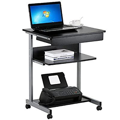 Yaheetech Mobile Computer Desk Cart PC Laptop Table Study Portable Workstation Student Dorm Home Office
