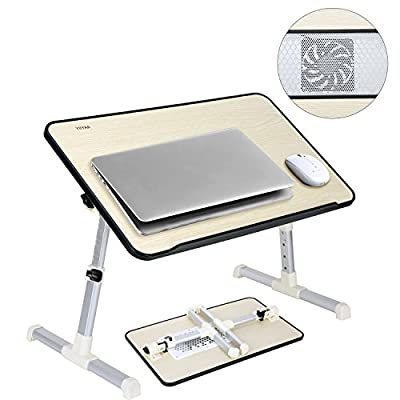 YIIYAA Laptop Stand Tray Computer Foldable Table Height Adjustable Standing Small Desk Portable Bed Sofa Notebook Stand Reading Holder with Cooling Fan - Large Black