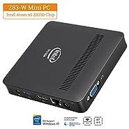 Z83-W Fanless Mini PC, Windows 10 64-bit 2GB/32GB Intel Atom x5-Z8350 Processor (2M Cache, up to 1.92 GHz) HD Graphics, DDR3L eMMC/4K/1000M LAN/2.4/5.8GHz WiFi/BT 4.0 [Dual Output - VGA/HDMI]