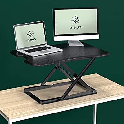 Zinus Smart Adjust Standing Desk/Adjustable Height Desktop Workstation/32in x 22in/Black